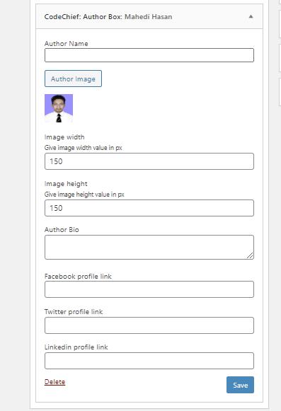 Author Profile Widget Settings