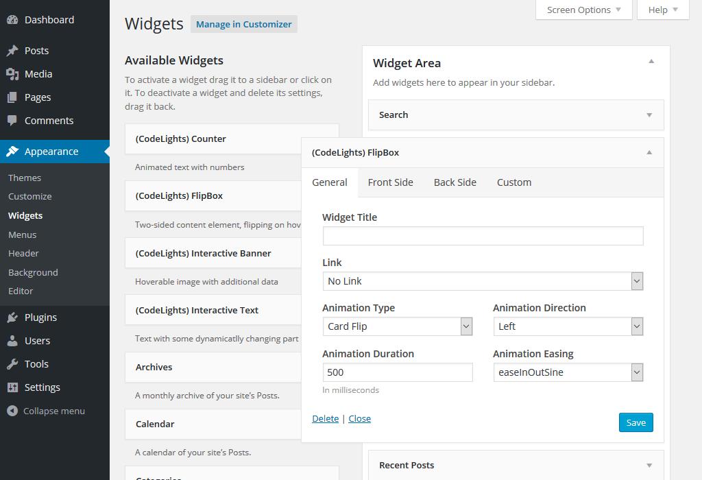 Editing sidebar widget from admin page