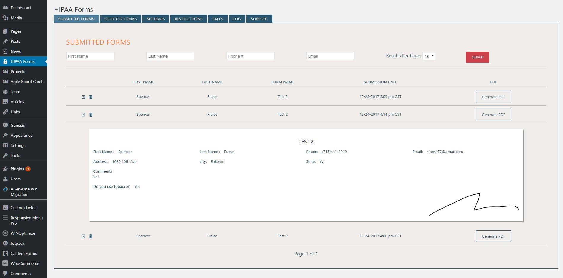 This is the interface showing the submitted forms.