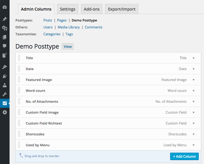 codepress-admin-columns screenshot 2