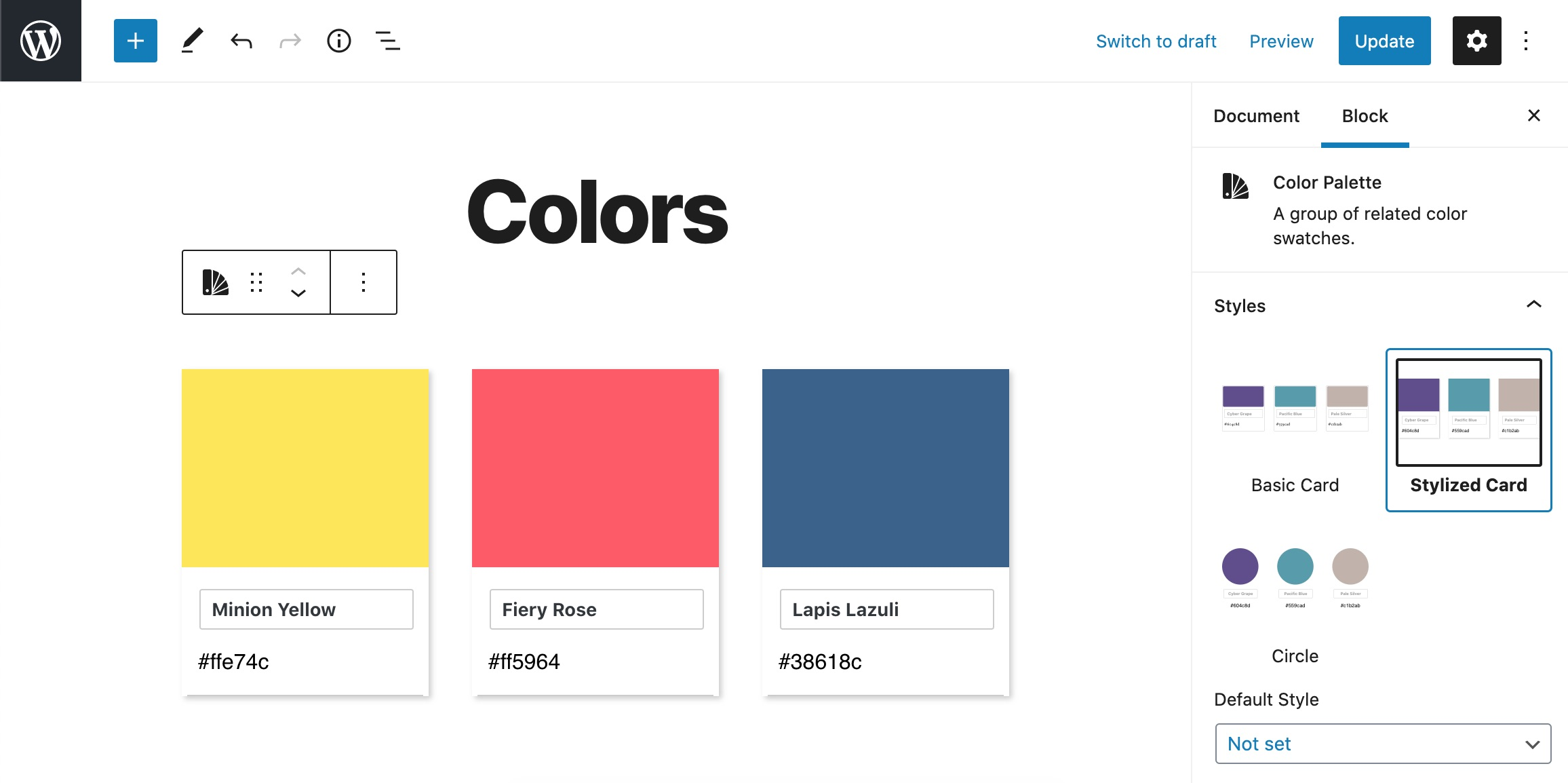 The color palette block in the post editor.
