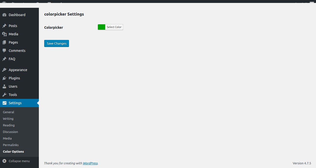 Admin backend to select color.