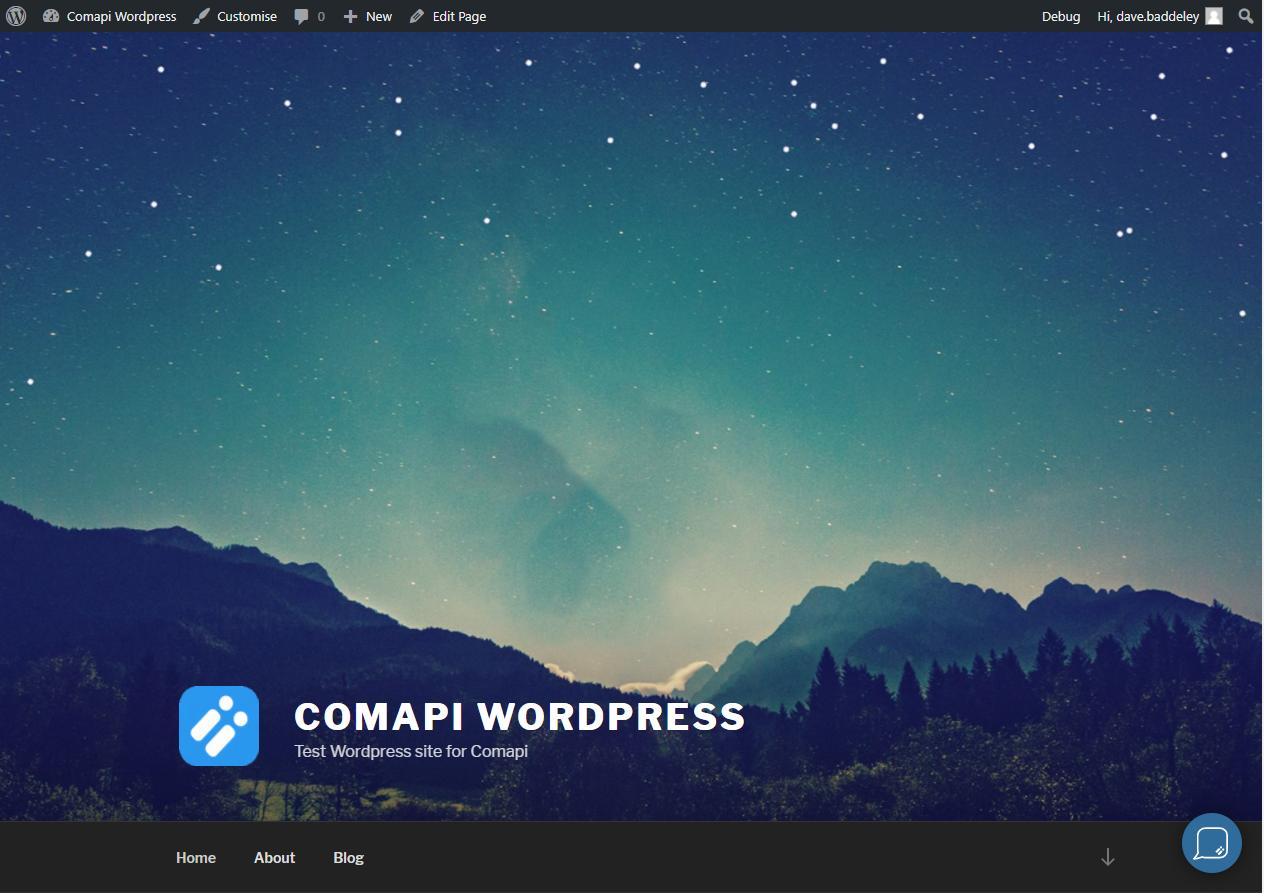 The Comapi webchat widget minimised
