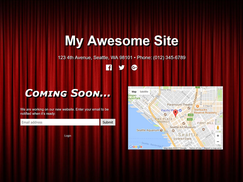Example of a coming soon page created using this plugin