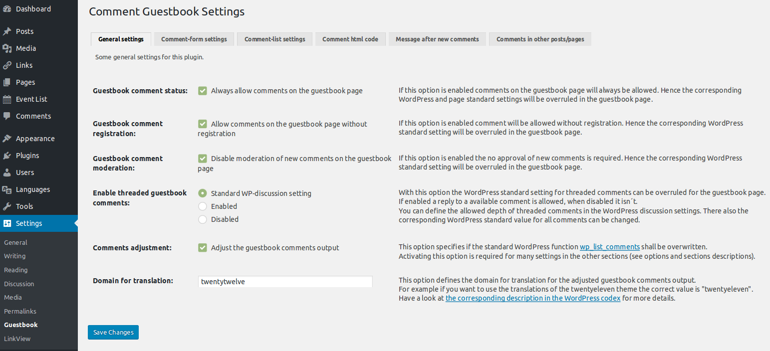 Admin settings page (General settings tab)