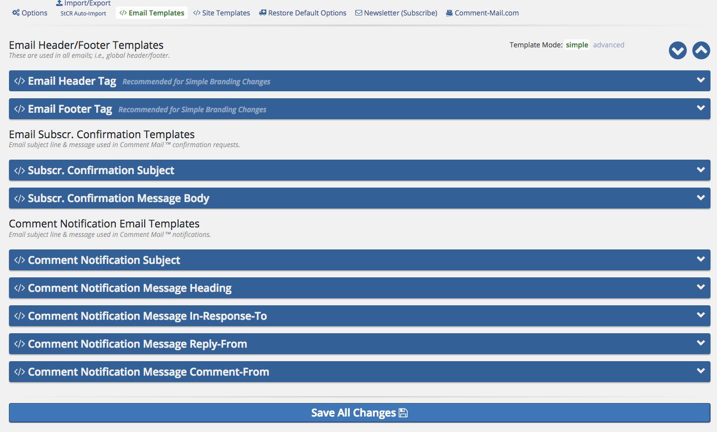 menu+control on wordpress