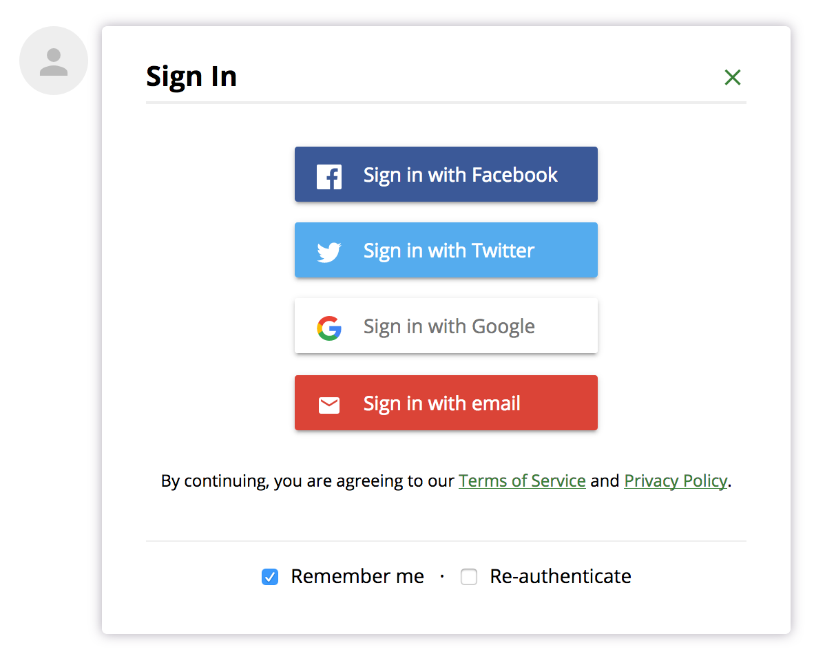 User login options.