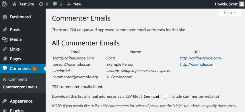 A screenshot of the admin page created by the plugin to view commenter emails.