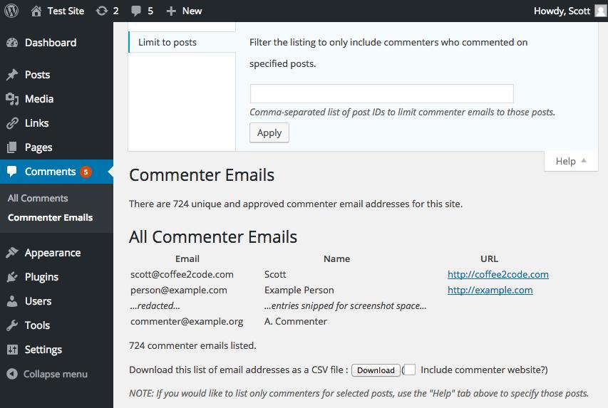 Commenter Emails – WordPress plugin | WordPress org