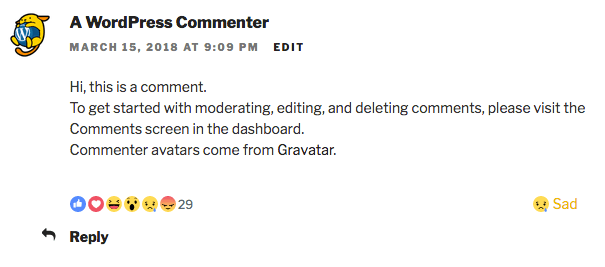 Comments Reactions: Reaction saved.