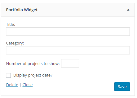 Show your latest projects in a widget.