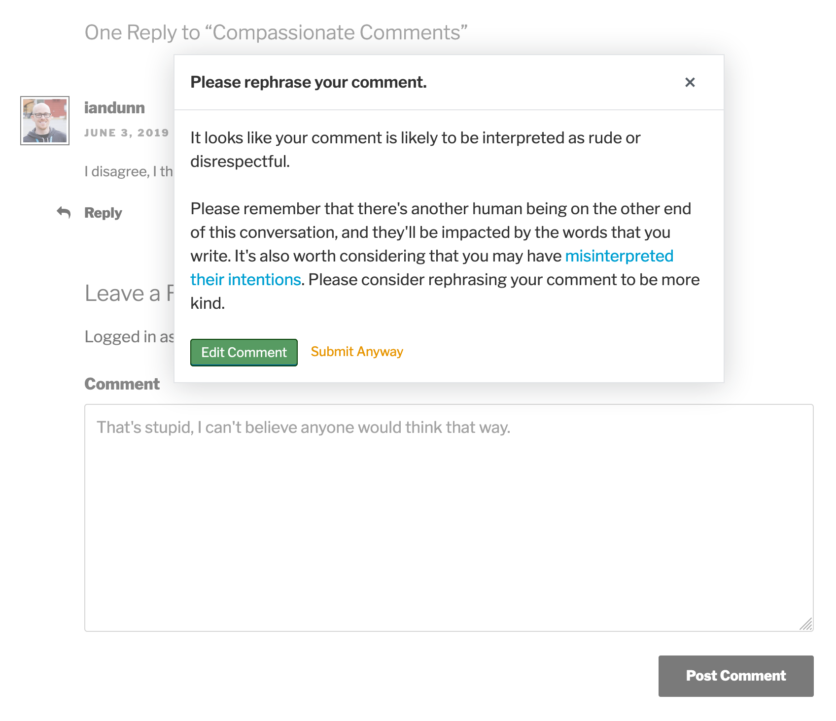 The warning a comment author is shown when submitting a toxic comment.