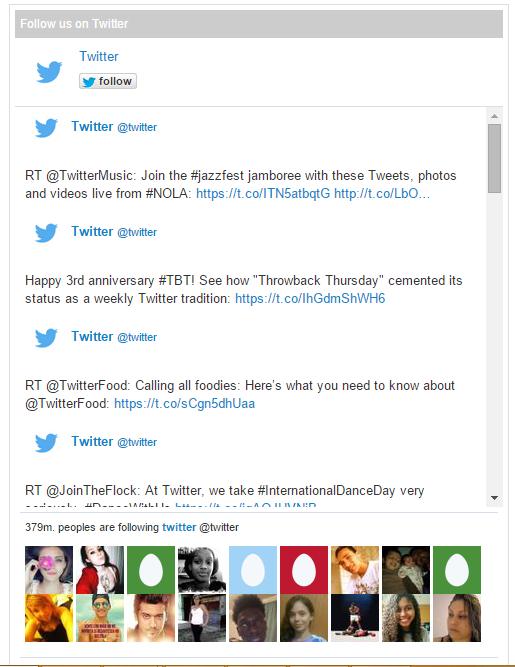 Screenshot of the widget