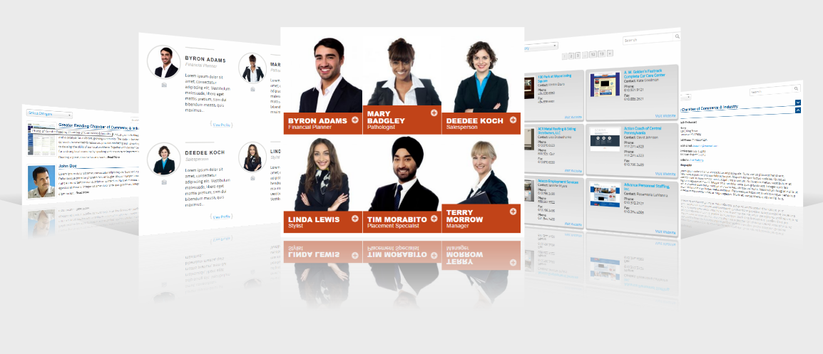 "The many possible faces of your business directory. Connections Business Directory supports templates. This screenshot showcases (left to right) <a href=""https://connections-pro.com/add-on/excerpt-plus/"">Excerpt Plus</a>, <a href=""https://connections-pro.com/add-on/circled/"">Circled</a>, <a href=""https://connections-pro.com/add-on/gridder/"">Gridder</a>, <a href=""https://connections-pro.com/add-on/tile-plus/"">Tile Plus</a> and <a href=""https://connections-pro.com/add-on/slim-plus/"">Slim Plus</a>."