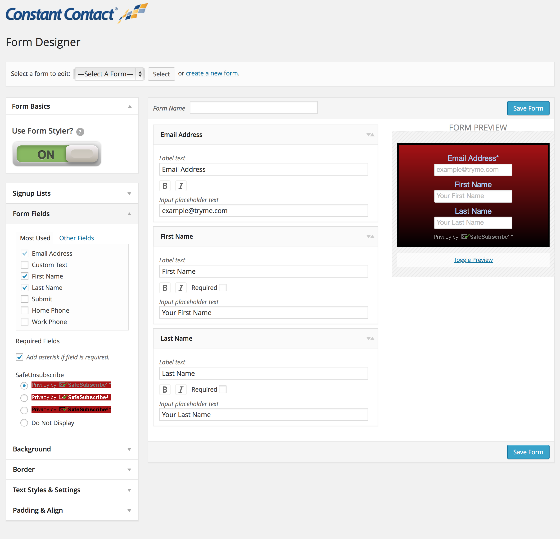Form Designer - custom form designer built right into the plugin