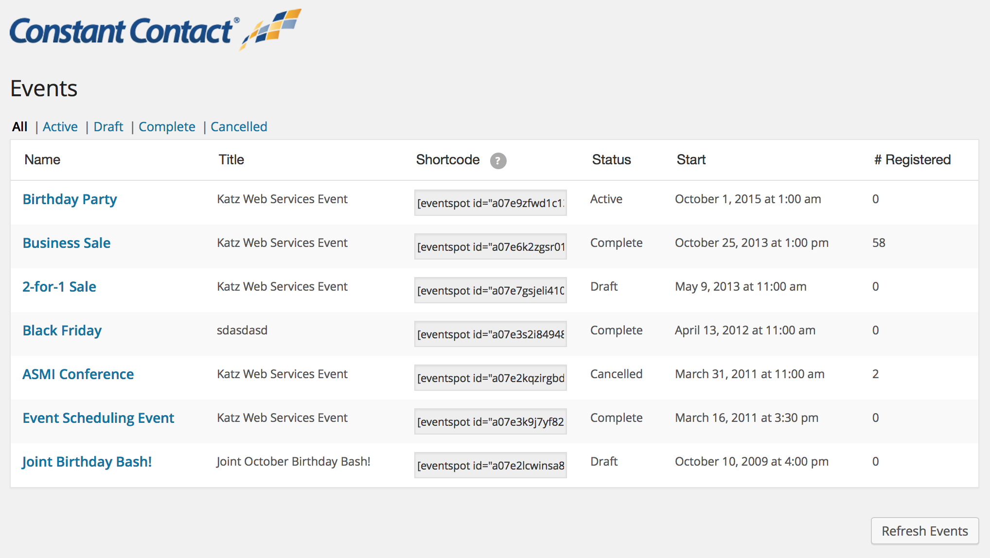 Embed Events inline and view EventSpot event details