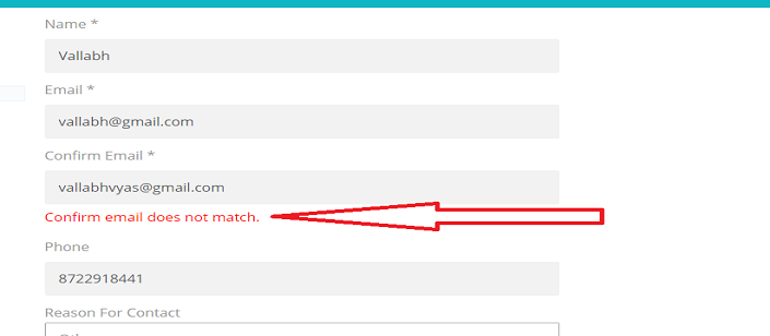 confirm email does not match validation - Verify Email Address Php