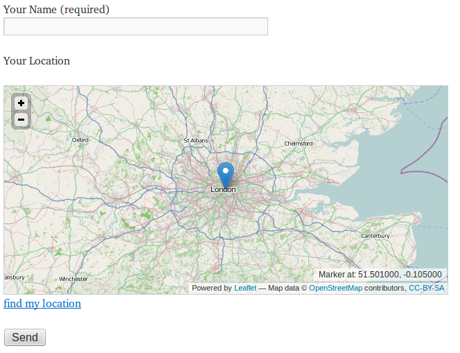 Example of a form with map (location) input field.