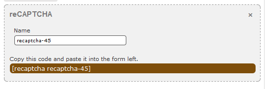 The property form for the reCAPTCHA field.