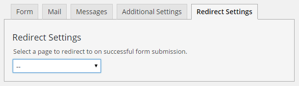 The Plugin Will Add A Redirect To Dropdown That Contains All Of Your Existing Pages As Options This Is Set On Each Edit Contact Form
