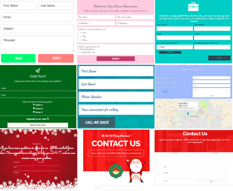<p>More examples of the Contact Form plugin</p>