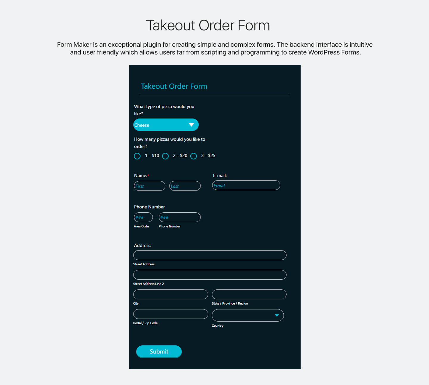 Sample contact form