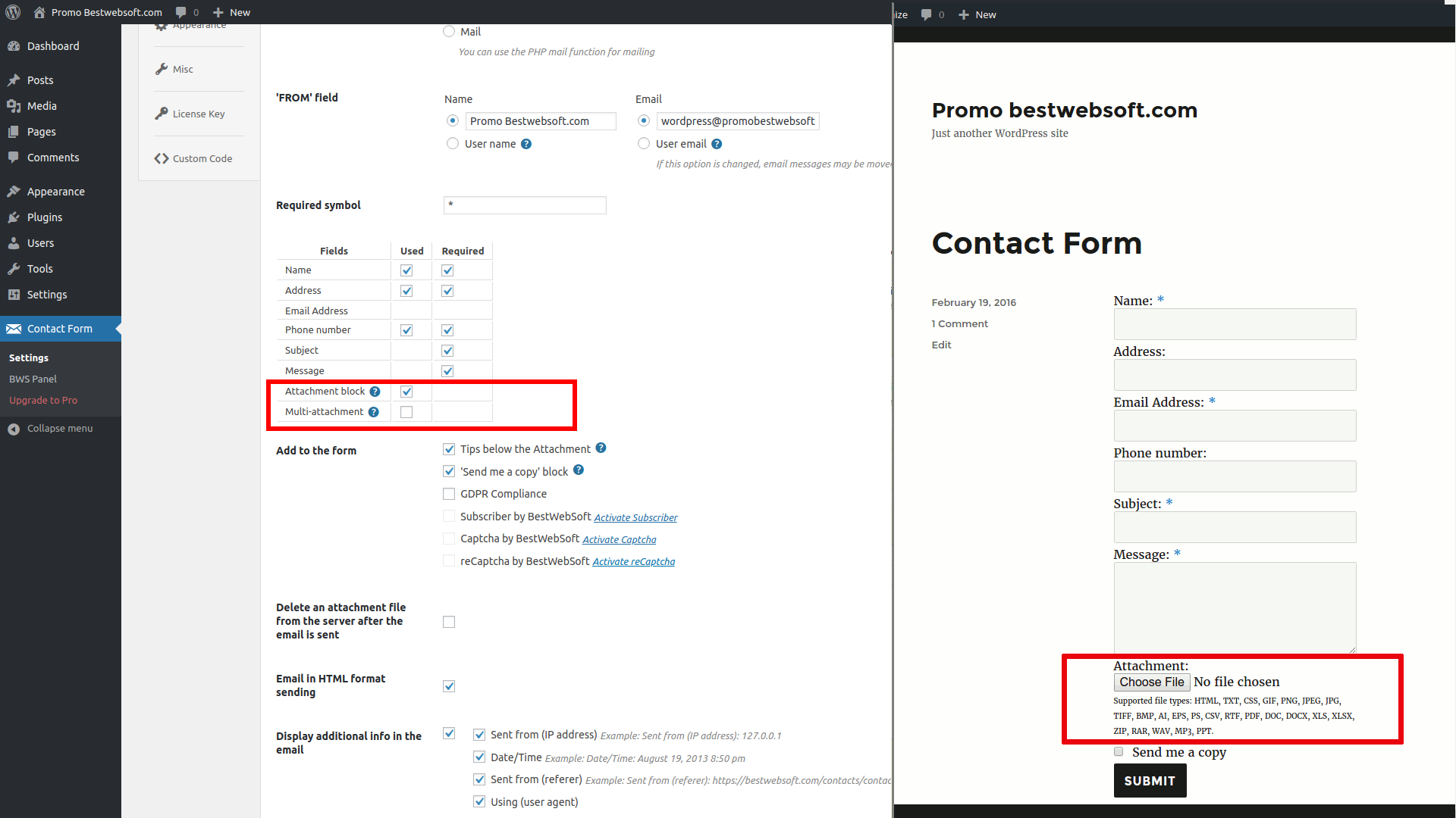 Enable the file attachement option to get important files from senders via contact form.