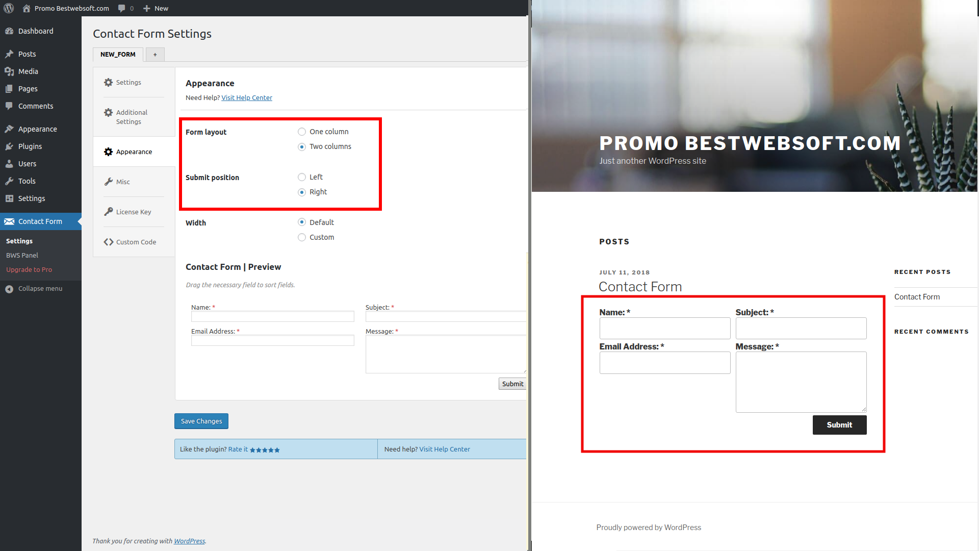 Divide your contact form fields into columns and change 'Submit' button position.