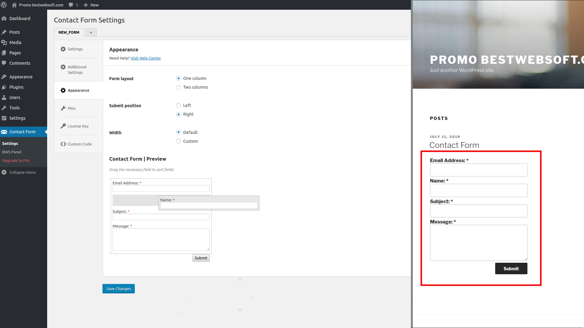Re-order contact form fields using drag & drop interface.