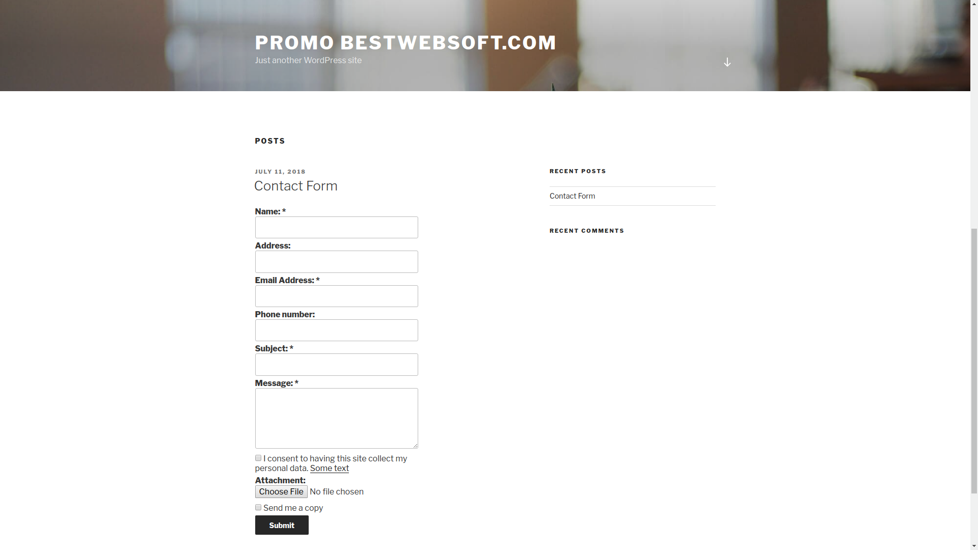 Contact Form displaying with additional fields.
