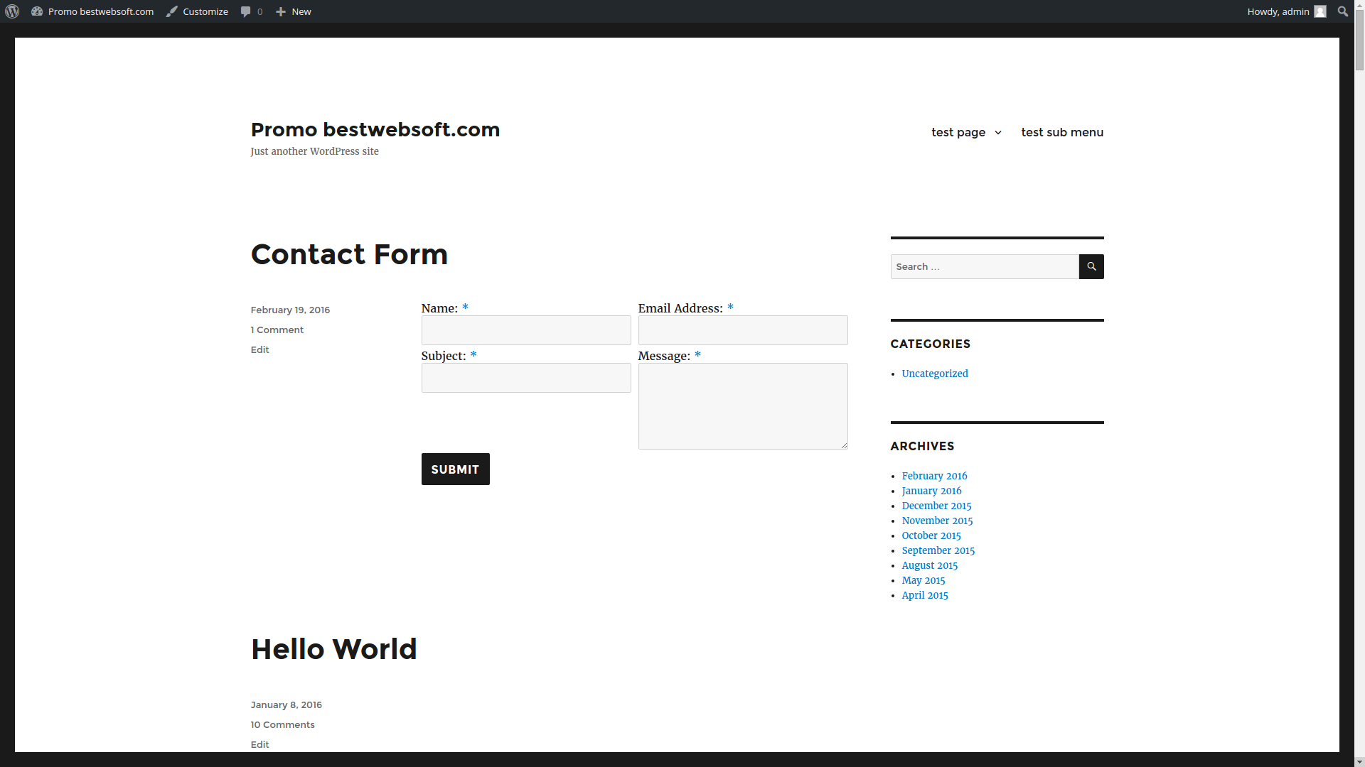 Contact Form displaying with 2 columns.