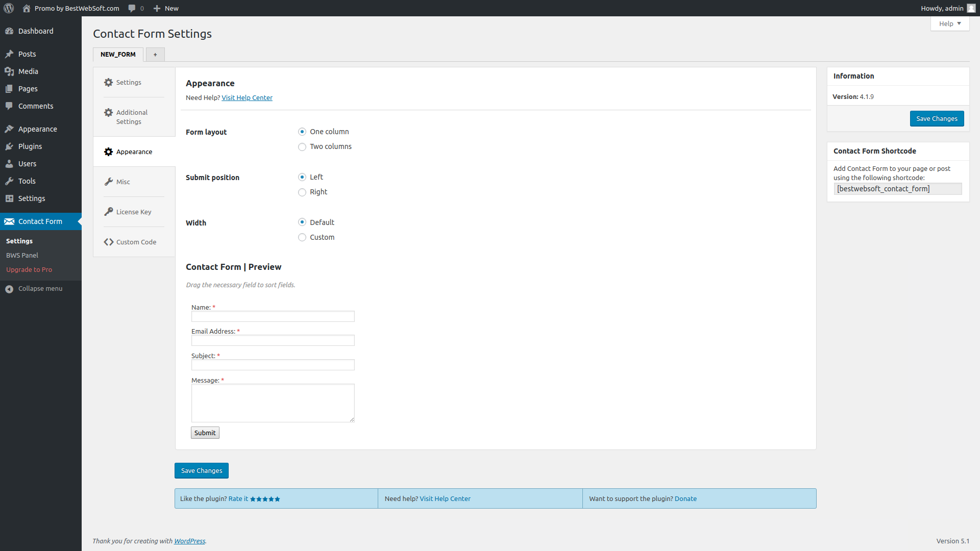 Contact Form appearance settings page.