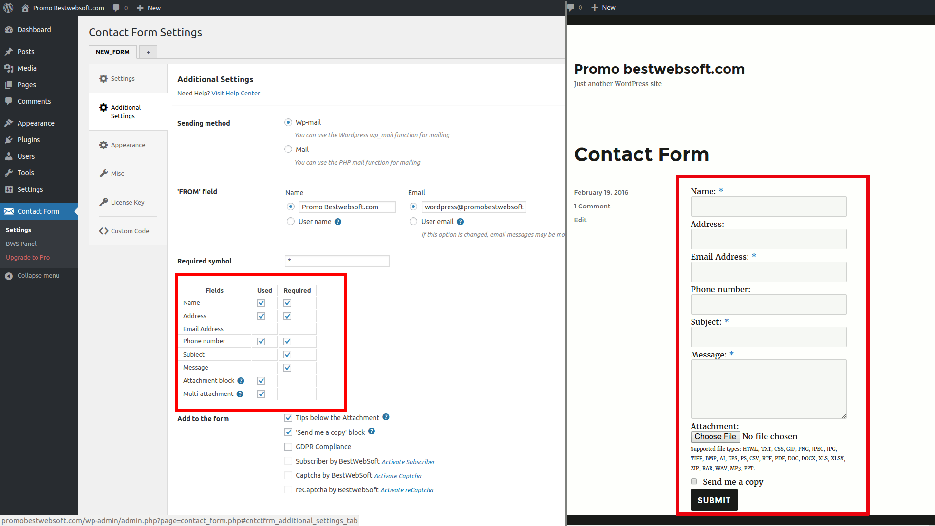 Add or remove additional fields easily and label any contact form fields you want.