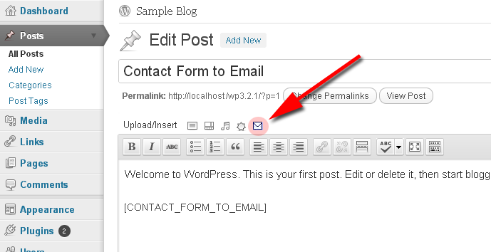 contact form validation settings