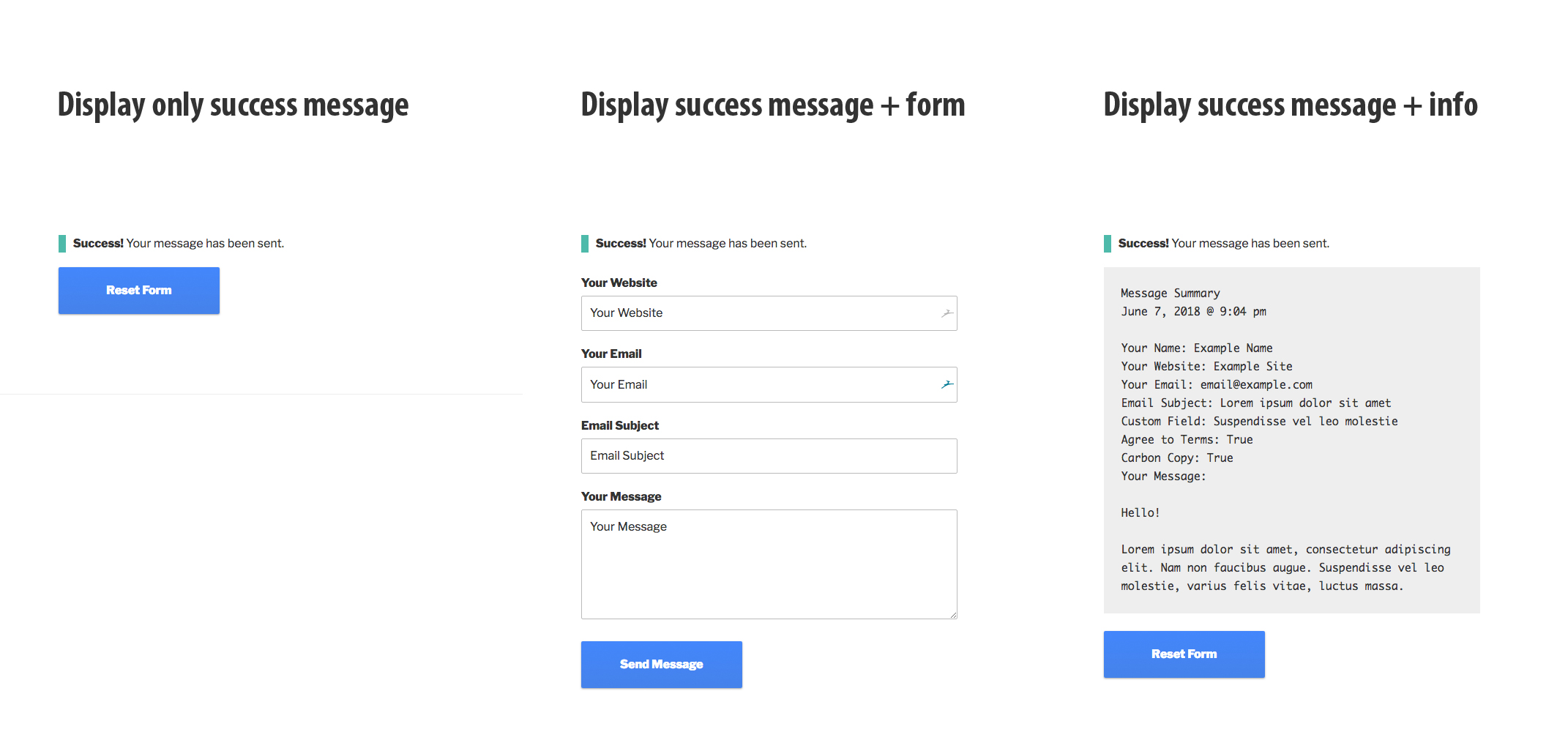 Success Message Options (customizable)