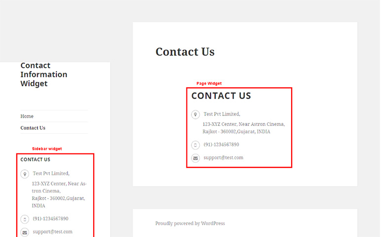Example Contact Information Widget in Front End Sidebar ... 83663ab2f57
