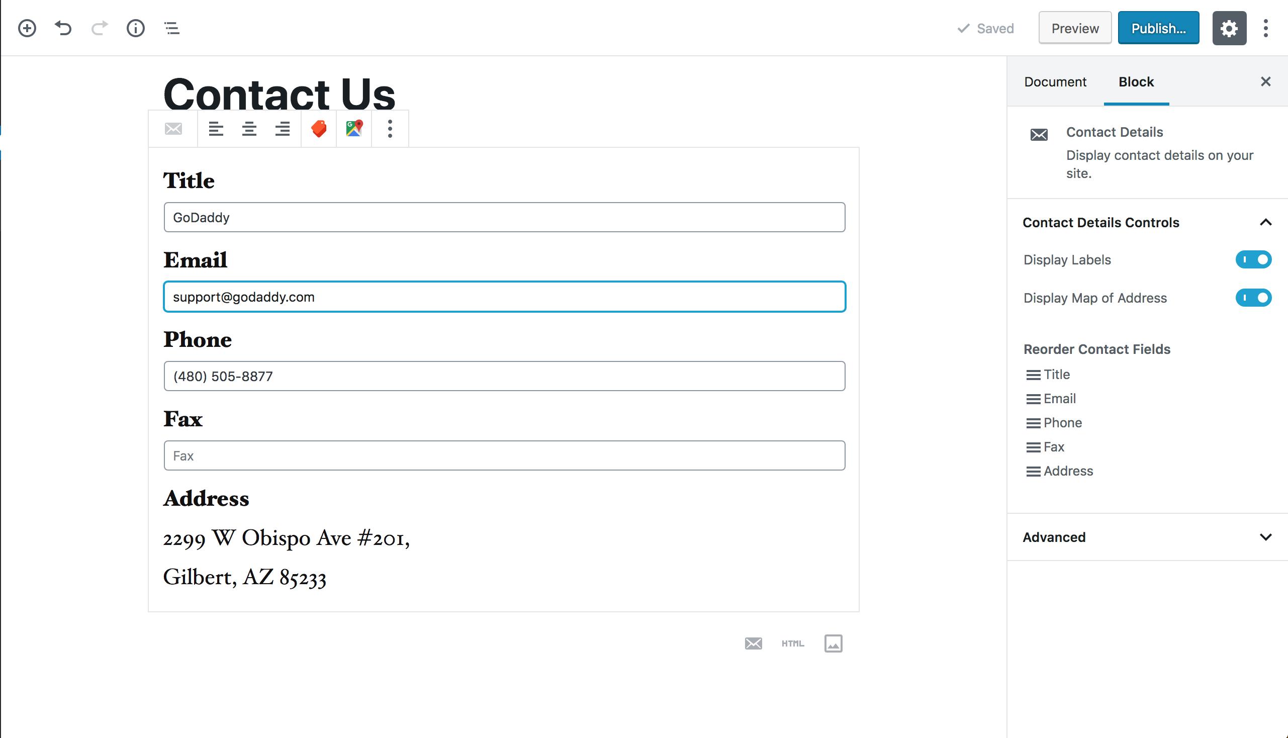 Contact widget block settings