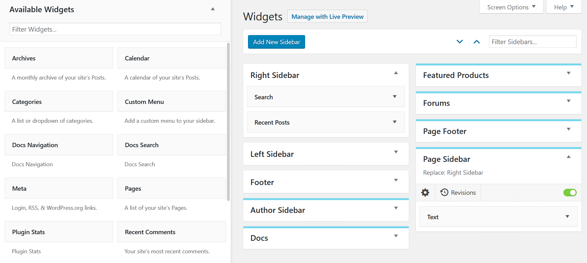 Filter widgets and sidebars in the Enhanced Widget Manager