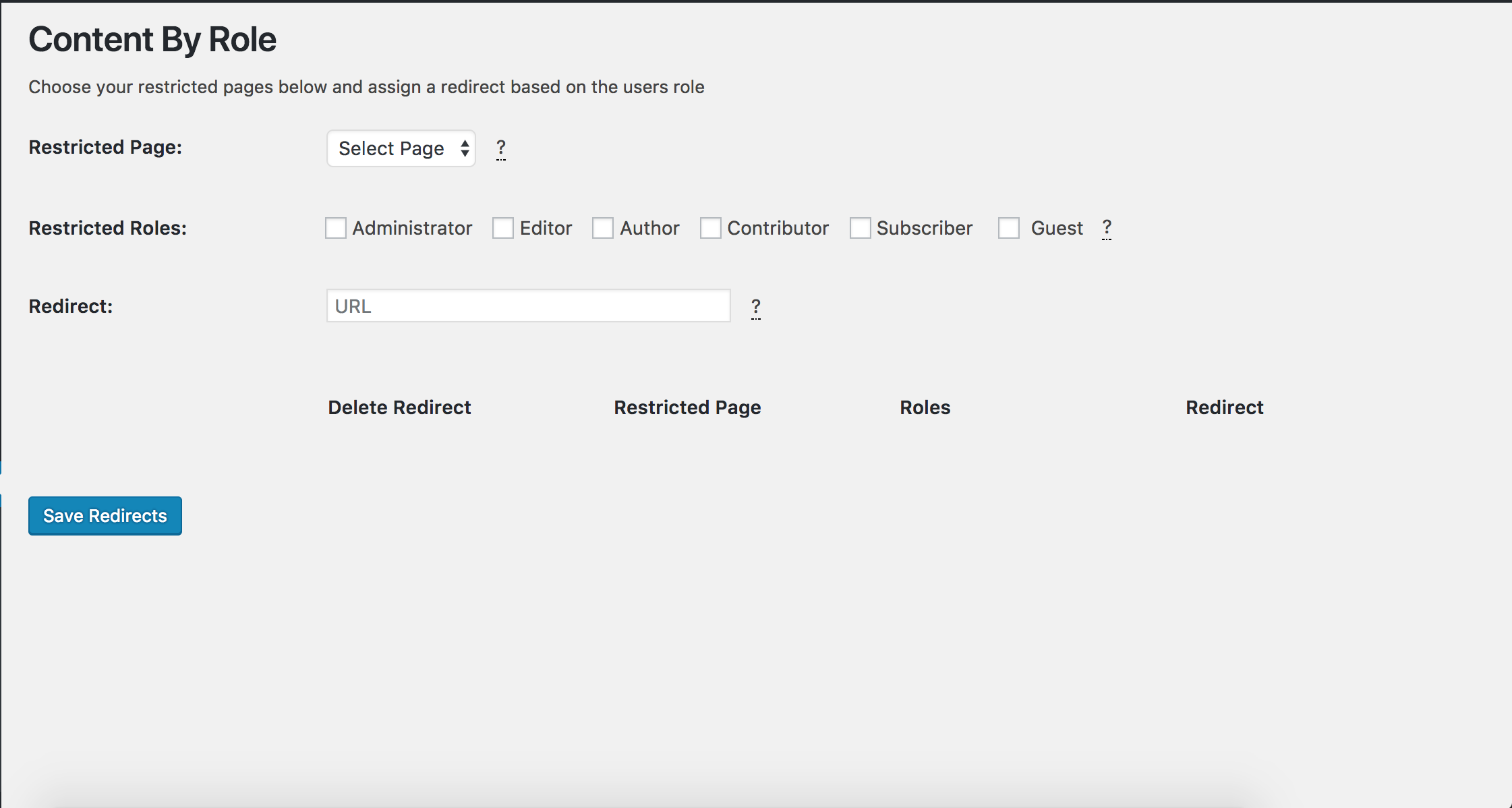 The settings page for Content By Role