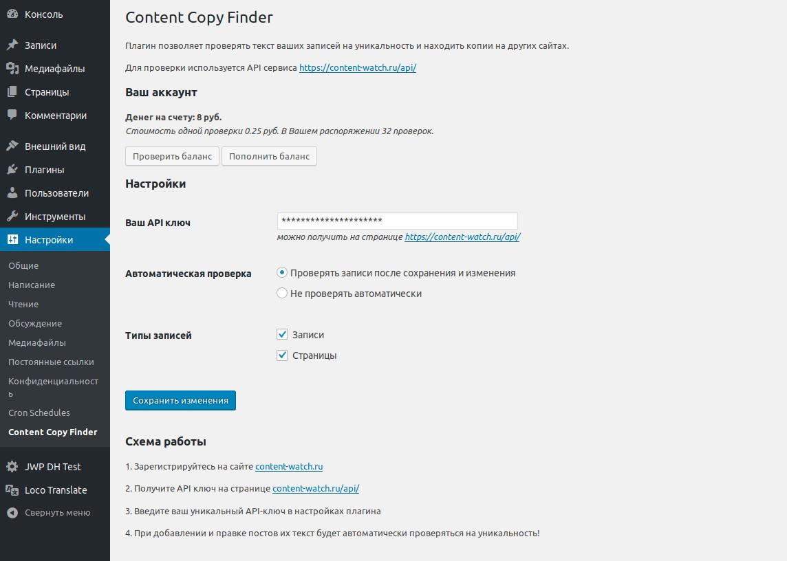 Content Copy Finder страница настроек