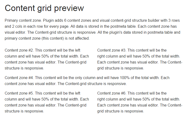 Content-Grid frontend structure