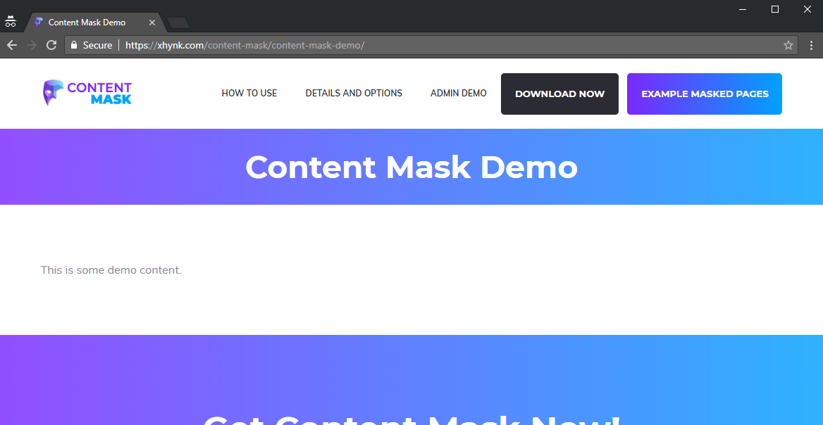 Notice that the URL has remained unchanged, but when Content Mask is enabled, it fully and seamlessly replaces all of the content on that permalink with the content from the Content Mask URL.