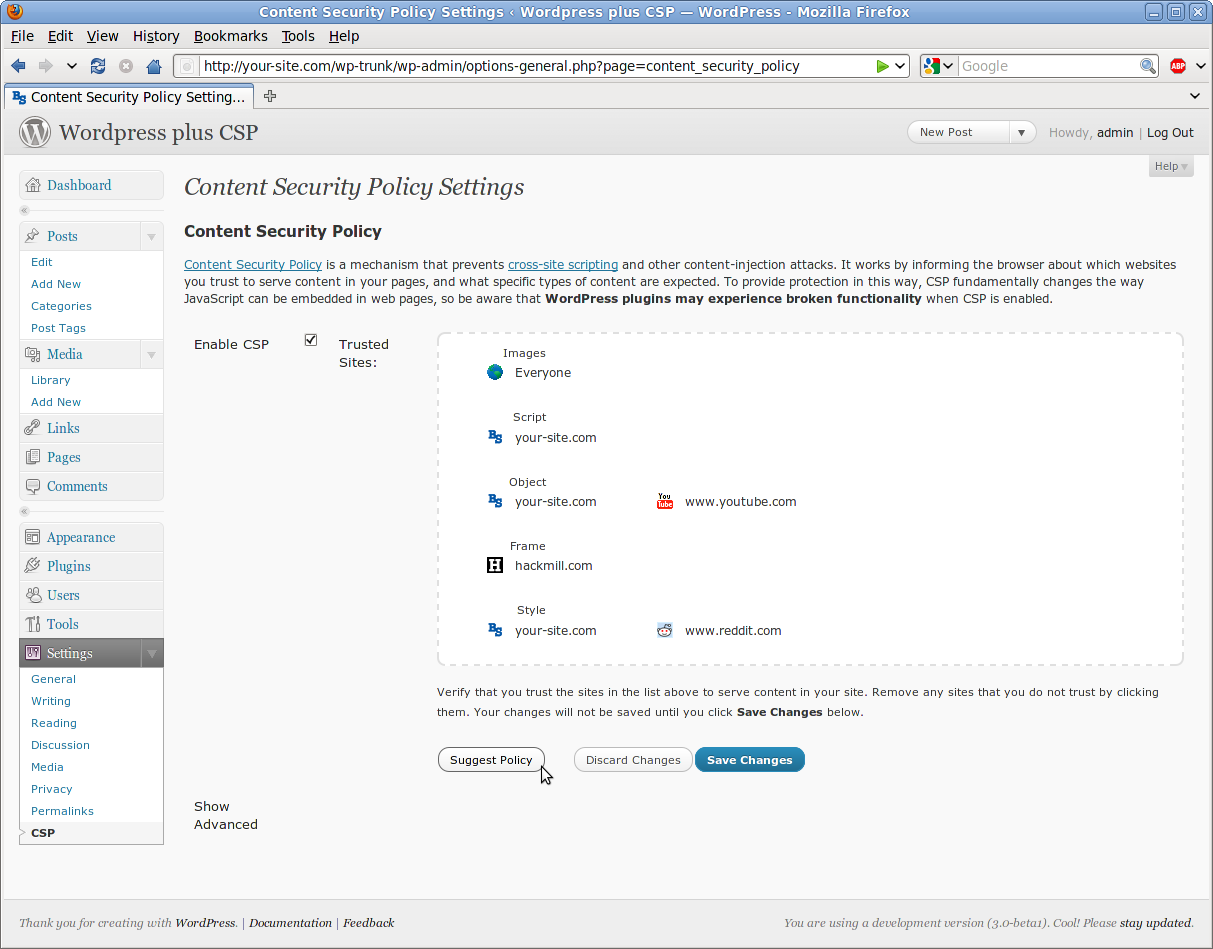 CSP configuration page making a policy reccommendation.