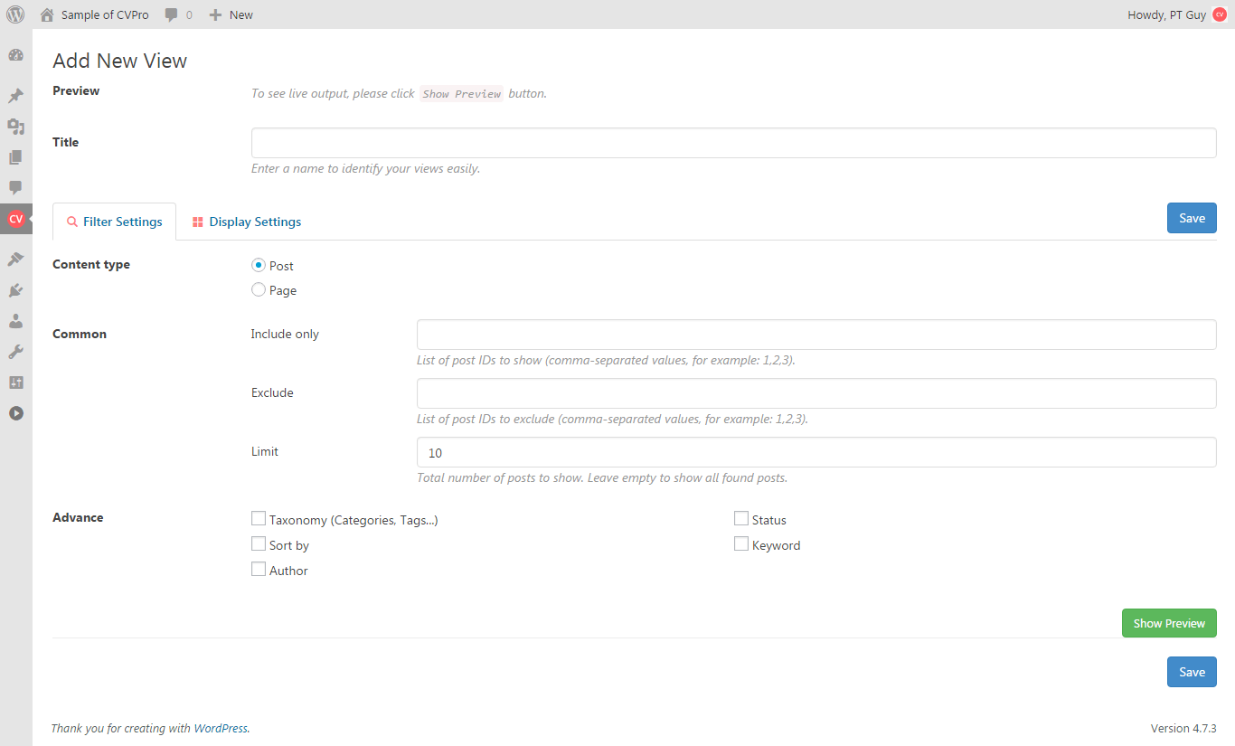 Content Views plugin overview