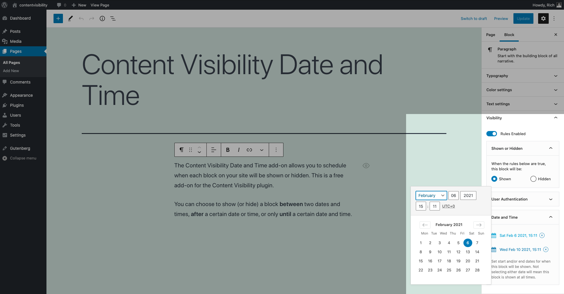 Showing the content visibility date and time controls in the content editor sidebar