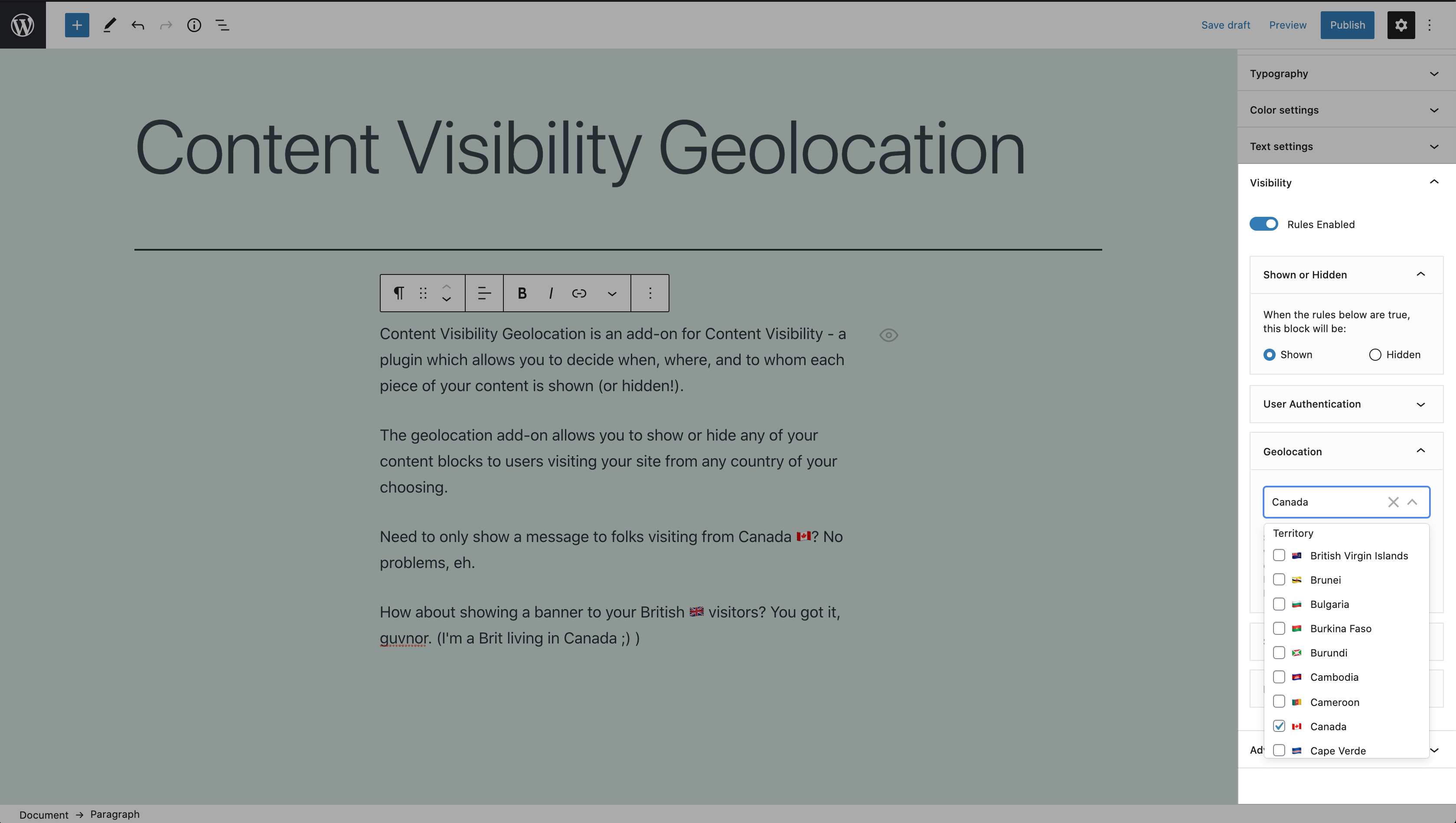 Showing the content visibility geolocation controls in the content editor sidebar