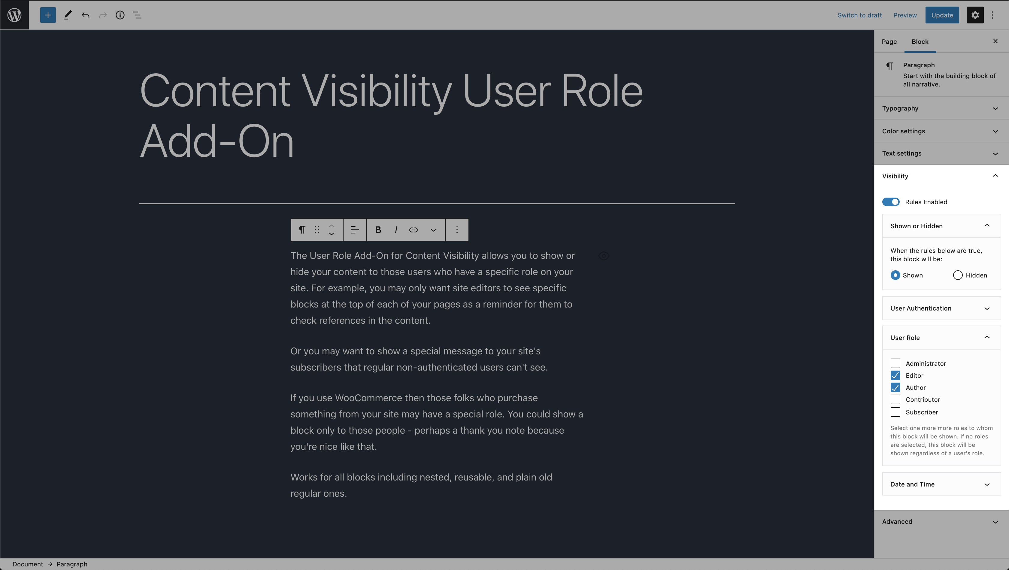 Content Visibility User Role