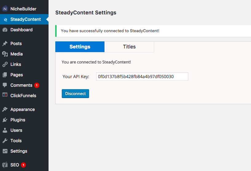 Your plugin is directly connected to your SteadyContent account using only your SteadyContent login (email / password)