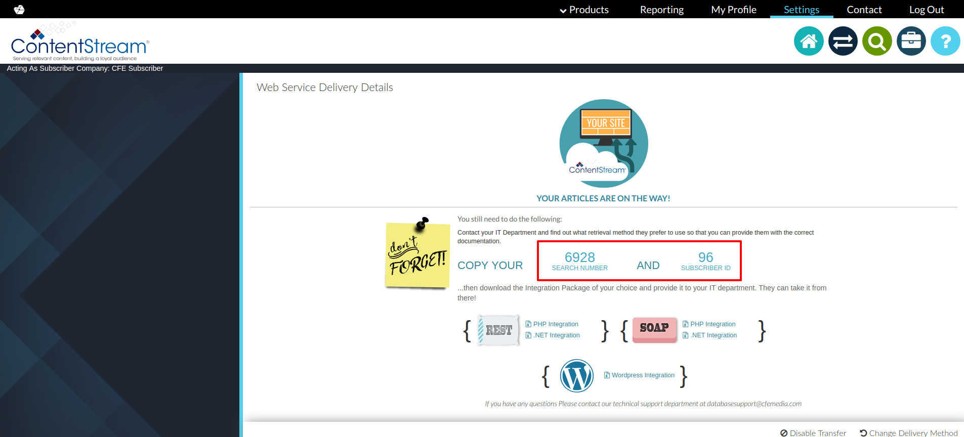 Where to find your subscriber ID and search number in ContentStream