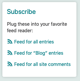 "The feed links shown on a category titled ""Blog."""